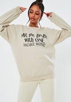 Missguided Sand One More Wine Graphic Oversized Sweatshirt