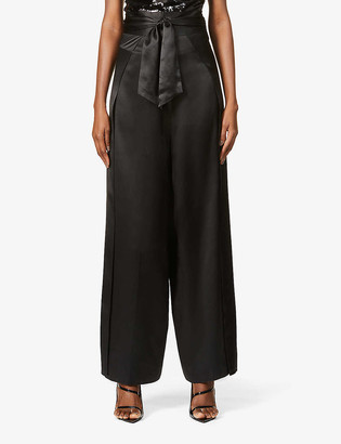 HARMUR Palazzo wide-leg high-rise silk-satin trousers