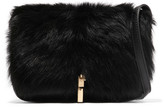 Elizabeth and James Cynnie Leather And Shearling Shoulder Bag - Black