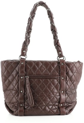 Chanel Lady Braid Shopping Tote Quilted Distressed Lambskin Medium