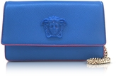 Versace Palazzo Staten Blue Leather Evening Clutch
