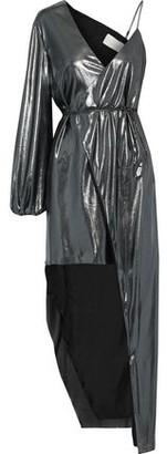 Mason by Michelle Mason Asymmetric Lame Wrap Dress