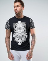 Brave Soul Skull Front and Sleeve Print T-Shirt