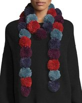 Rebecca Minkoff Long Pompom Scarf, Purple/Red/Blue