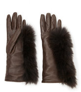 lab srl Leather Gloves with Real Fur Trim