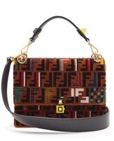 Fendi Kan I logo-print velvet shoulder bag