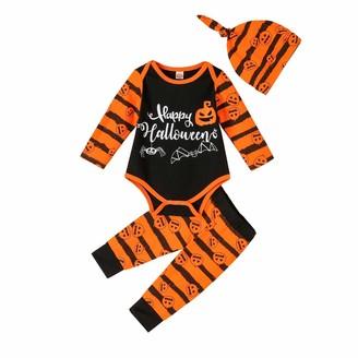fhong Halloween Baby Boy Girl Clothes 3Pcs/Set Stripe Romper+Hat+ Long Pants Outfits Set
