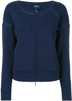 Armani Jeans collarless zip cardigan - women - Polyamide/Polyester/Spandex/Elastane/Viscose - 38