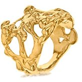 Annelise Michelson Women's 18ct Yellow Gold Plated Long Drop Ring - Size P