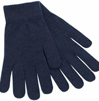 RockJock Women's and Girls Colourful Striped Knitted Bobble Hats with Pom Pom - Stylish and Warm. (Navy Gloves)