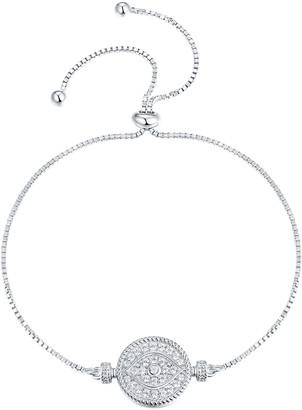 Swarovski Best Silver Women's Bracelets - Sterling Silver Pave Eye Adjustable Bracelet With Crystals