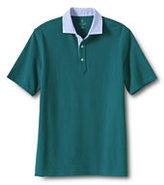 Classic Men's Slim Fit Mesh Woven Collar Polo Shirt-Deep Gunmetal