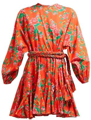 Rhode Resort Ella Floral-print Cotton-voile Mini Dress - Womens - Red Print