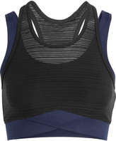 Ivy Park Layered Ribbed Mesh And Stretch-jersey Sports Bra - Navy