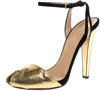Gucci Metallic Gold Crackled Leather With Suede Ankle Strap Peep Toe Sandals Size 40