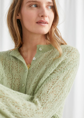 And other stories Wool Blend Eyelet Knit Cardigan