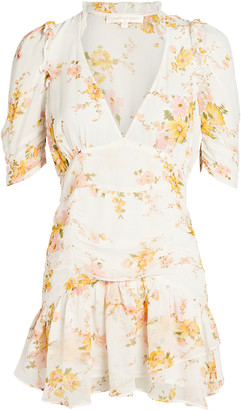 LoveShackFancy Arlo Floral Silk Mini Dress