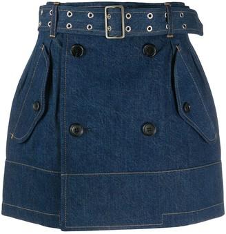 Junya Watanabe Belted-Waist Denim Skirt