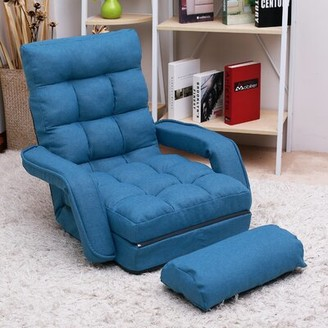Grove Lane Filey Tufted Round Arms Reclining Chaise Lounge Grovelane Fabric: Blue Linen