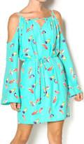 Pink Owl Feather Print Dress