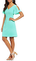 Adrianna Papell Cold Shoulder Textured Woven Fit & Flare Dress