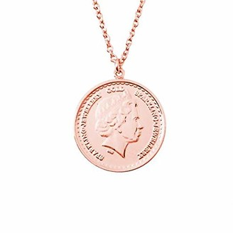 Sparkling Jewellery Women Gold Pendant Necklace of Length 46cm Grand One Coin - Rose Gold