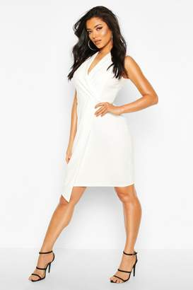 boohoo Sleeveless Tux Midi Dress