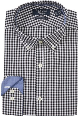 Original Penguin Gingham Print Long Sleeve Heritage Slim Fit Dress Shirt