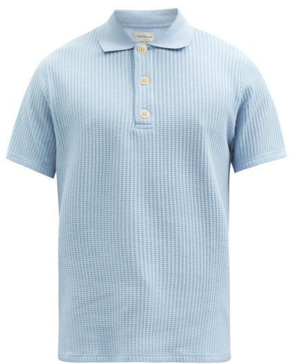 Oliver Spencer Tabley Waffle Organic-cotton Jersey Polo Shirt - Light Blue
