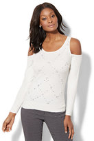 New York & Co. 7th Avenue - Faux-Pearl Cold-Shoulder Sweater