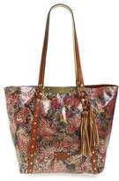 Patricia Nash Metallic Tooled Lace Benvenuto Leather Tote - Red