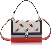 Fendi Kan I Medium Embroidered Leather Satchel Bag