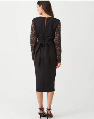 Very Tie Waist Lace Pencil Dress - Black