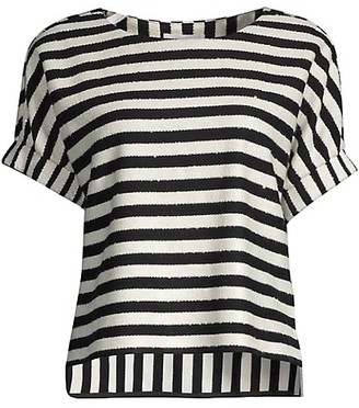 Milly Julie Striped Sequin Top