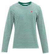 Thumbnail for your product : Ami De Cur-logo Striped Organic-cotton T-shirt - Green Multi