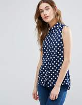 Vila Sleeveless Shirt In Polka Dot Print