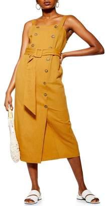 Topshop Belted Pinafore Midi Dress