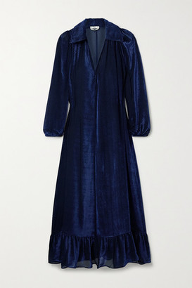 Fendi Ruffled Devore-velvet Midi Dress - Midnight blue
