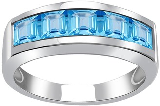 Blue Topaz Sterling Silver Princess Shape Engagement Ring by Orchid Jewelry