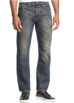 Sean John Men's Patch-Pocket Hamilton Relaxed Fit Destructed Jeans, Dark Stain