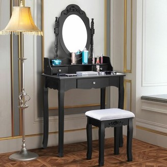 House of Hampton Kaniel Vanity Set with Mirror Color: Black