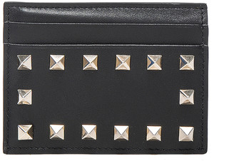 Valentino Rockstud Credit Card Holder in Black | FWRD