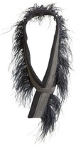 Fabiana Filippi Women's Genuine Ostrich Feather Trim Wool Blend Collar