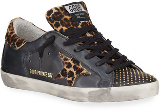Golden Goose Superstar Leopard-Print Fur Sneakers