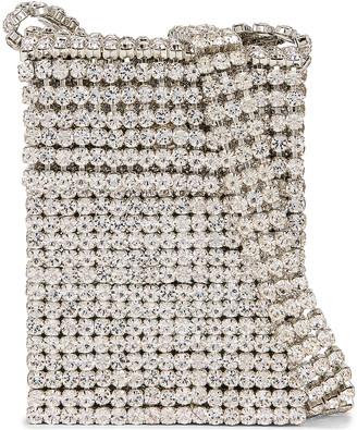 Area Crystal Flapper Mini Bag in Clear Crystal & Silver   FWRD