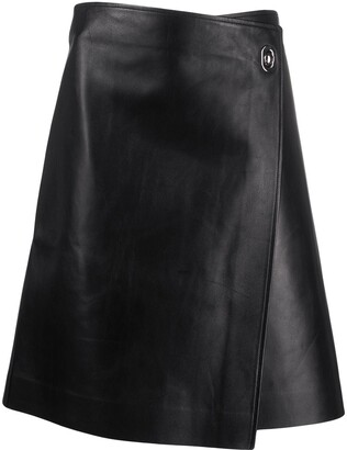 Bottega Veneta Wrap-Style Leather Skirt
