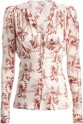 Paco Rabanne Floral Satin Long Sleeve Blouse