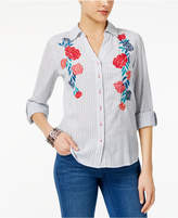 Style&Co. Style & Co Cotton Embroidered Shirt, Created for Macy's