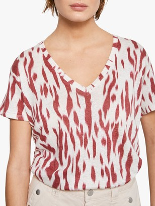Mint Velvet Pia Linen Animal Print T-Shirt, Red