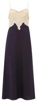 Gabriela Hearst Adolphine Lace-trimmed Silk-blend Slip Dress - Womens - Dark Navy